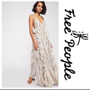 Free People Heat Wave Maxi Dress Ivory Comb L RARE